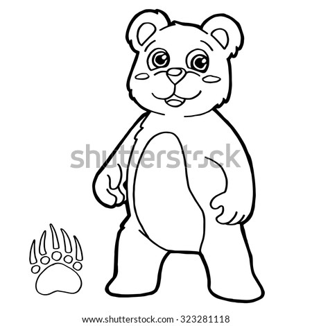 Bear Paw Print Coloring Page Vector Stock Vector Royalty Free