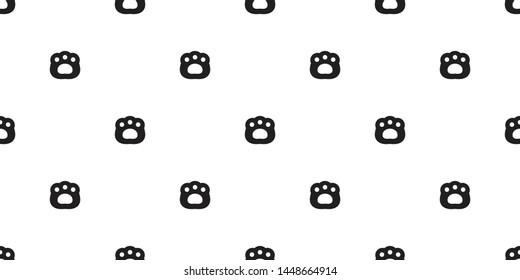 Bear paw seamless pattern dog vector polar bear footprint scarf isolated cartoon repeat background tile wallpaper doodle illustration design