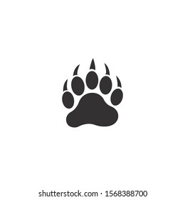 Bear paw silhouette vector icon on a white background