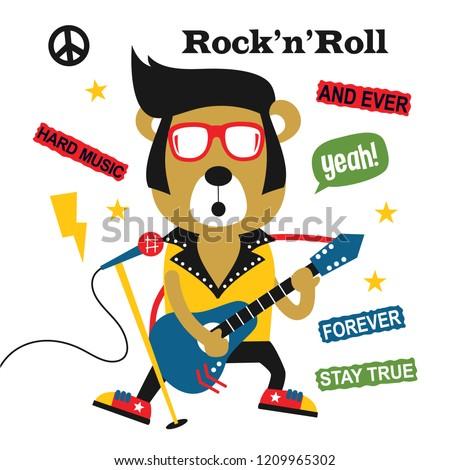 Image of: Nightingale Bear Playing Guitarrock Rollfunny Animal Cartoonvector Illustration Vector Shutterstock Bear Playing Guitarrock Rollfunny Animal Stock Vector royalty
