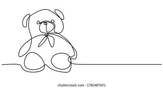 Bear plush toy one continuous line drawn isolated on a white background. Cute stuffed teddy bear is mascot for little girl. Little teddy bear sitting on the bed. Vector illustration