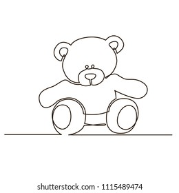 Bear plush toy painted with a single black line on a white background. One-line drawing. Continuous line. Vector Eps10