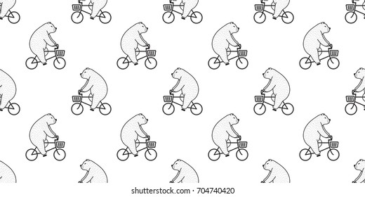 Bear Polar Bear bicycle seamless pattern wallpaper background vector doodle illustration