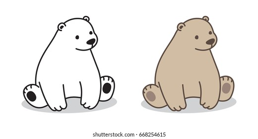 Bear Polar Bear cartoon sitting Vector illustration doodle