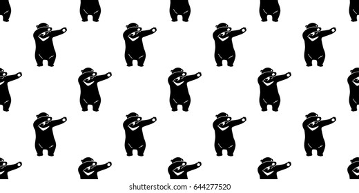 Bear Polar Bear Dab Dance Seamless Pattern Wallpaper / Background