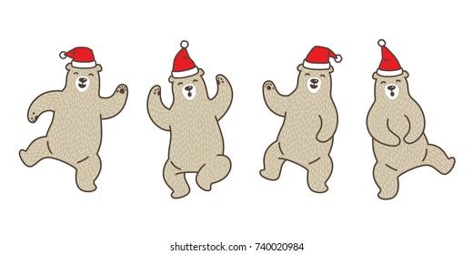 Bear polar dance Christmas Santa Claus doodle illustration vector cartoon