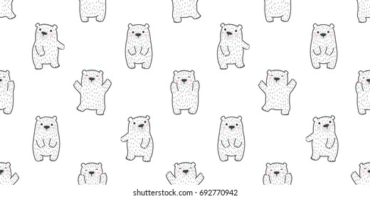 bear polar bear doodle vector Seamless wallpaper background