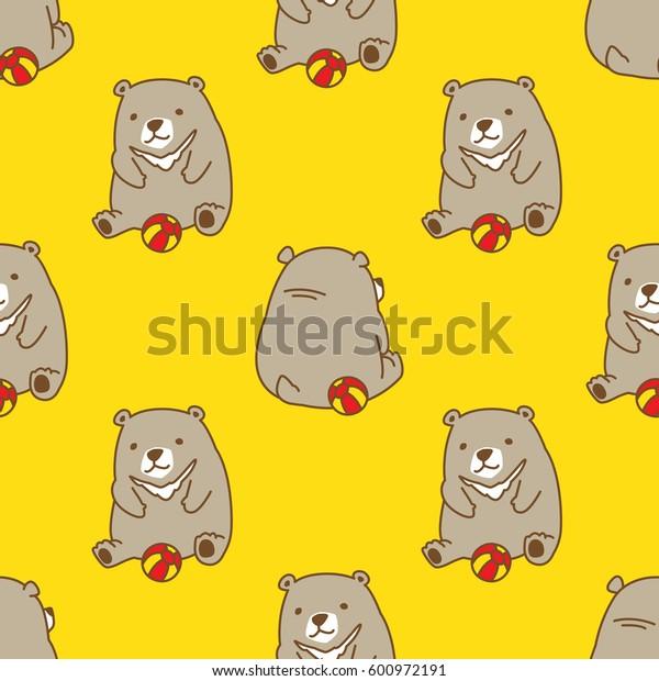 Bear Polar Bear play Ball Seamless Pattern yellow vector