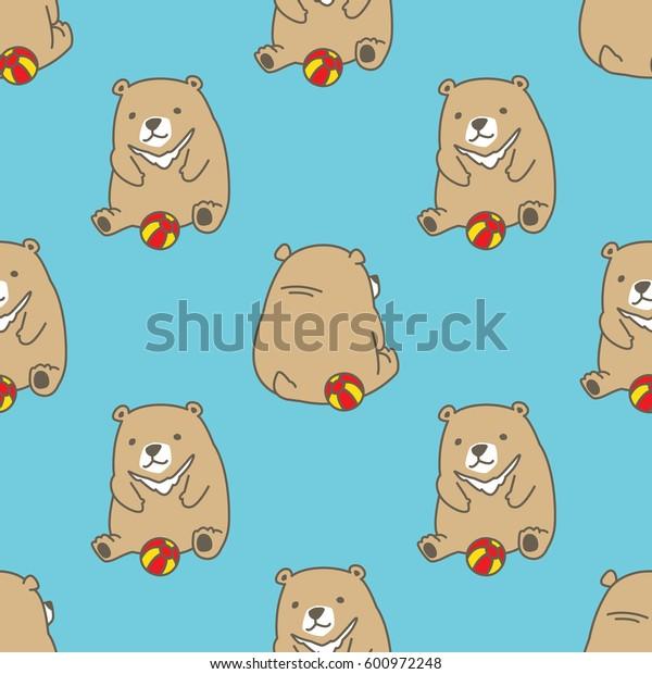 Bear Polar Bear play Ball Seamless Pattern blue vector