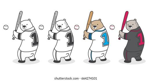 Bear Polar Bear playing Baseball Vector illustration cartoon doodle