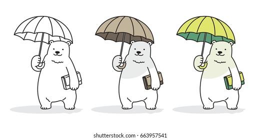 Bear Polar Bear Rain umbrella Vector illustration cartoon doodle