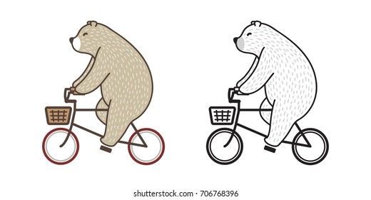 Bear Polar Bear riding a bicycle doodle vector illustration