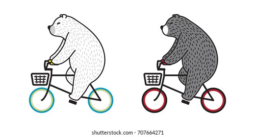 Bear Polar Bear riding a bicycle illustration doodle