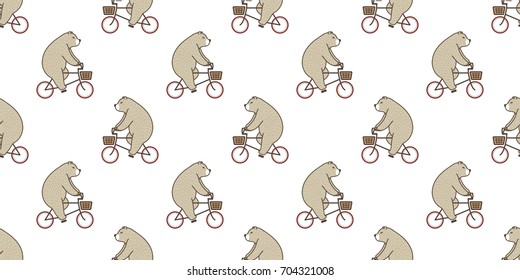 Bear Polar Bear riding a bicycle vector seamless pattern doodle cartoon wallpaper background