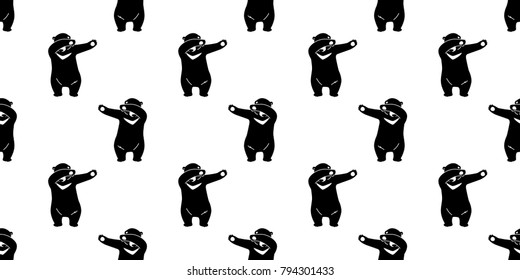 Bear Polar Seamless Pattern Bear Dab Dance vector wallpaper background isolated