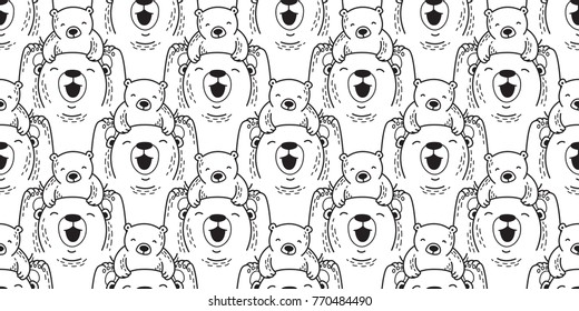 Bear polar bear teddy icon vector doodle seamless pattern wallpaper background