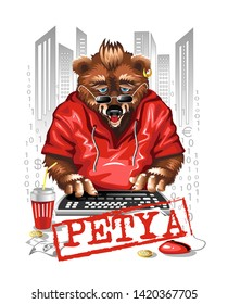 Bear programmer Petya in a red t-shirt on a white metropolis background behind the keyboard. Runs a computer virus. Vector character.