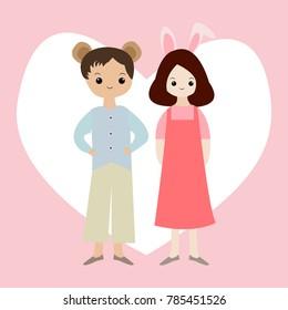 bear rabbit love heart wedding valentine love card vector illustration design background