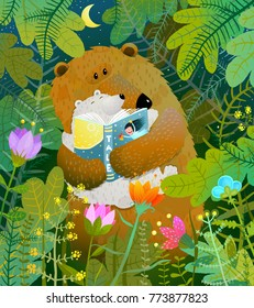 Bear reading book to cub. Good night fairy tale before going to bed. Vector illustration.