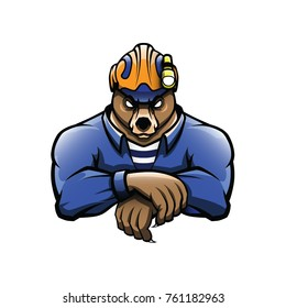 Bear rescuer in helmet with light hand drawn color vector mascot figure