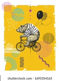 Bear Ride Bicycle Balloon T-shirt Print. Vintage Mascot Cute Fun Grizzly Cycle Bike Isolated on White. Blackwork Tattoo Animal Character Black Sketch. Outline Grunge Teddy Flat Vector Illustration