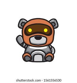 bear robot illustration, mascot, character designs