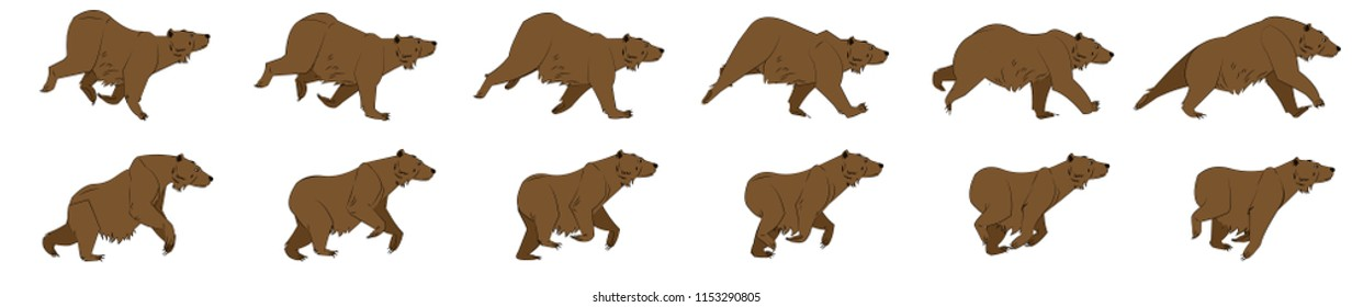 Bear run cycle animation sprite sheet