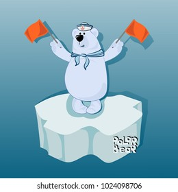 Bear sailor on an ice floe with semaphore flags. Semaphore alphabet. Emblem, poster with a polar bear. Design for printing on fabric or paper. Illustration for children's book in cartoon style.