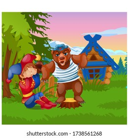 The bear scares the buffoon on the background of a beautiful landscape with mountains and a hut isolated on white background. Vector cartoon close-up illustration.