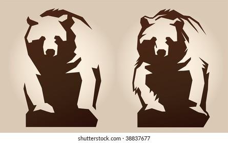 Bear. Schematically, generalized Illustration.
