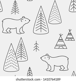 Bear seamless pattern. Background with bear and forest and wigwams. Scandinavian style. Vector illustration.