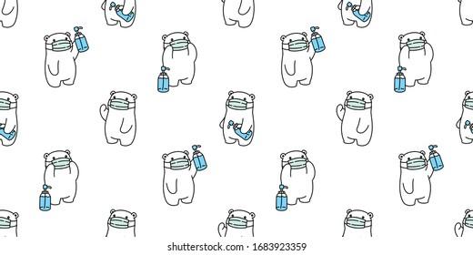 bear seamless pattern polar bear face mask covid19 coronavirus pm 25 alcohol gel vector animal scarf isolated repeat wallpaper tile background cartoon doodle illustration design