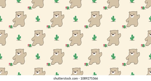 bear seamless pattern polar bear panda cactus flower plant garden Desert botanica vector teddy isolated background wallpaper
