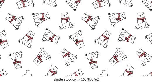bear seamless pattern polar bear vector scarf panda teddy isolated background repeat wallpaper cartoon