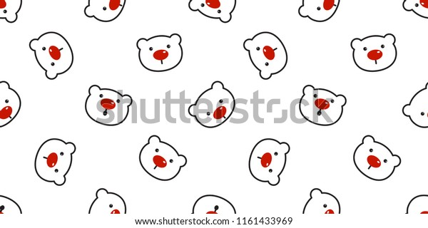 Bear Seamless Pattern Polar Bear Vector Stock Vector