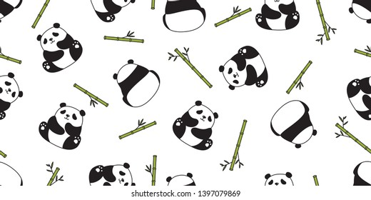 Bear seamless pattern vector panda polar bear bamboo teddy scarf isolated repeat wallpaper tile background cartoon character doodle illustration