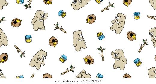Bear seamless pattern vector polar bear honey bee teddy scarf isolated cartoon repeat background tile wallpaper doodle illustration design