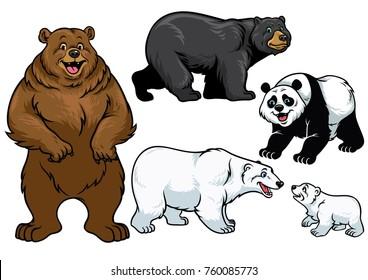 bear set in cartoon style