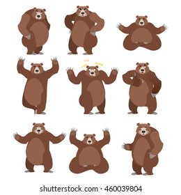 Bear set on white background. Grizzly various poses. Expression of emotions. Wild animal yoga. Eevil and good. Sad and happy animal. Big strong predator thumbs up