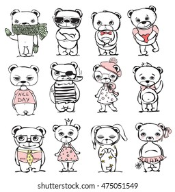 Bear set. Vector trendy hipster style for greeting card design, t-shirt print