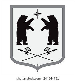 bear shape. coat of arms. vector illustration