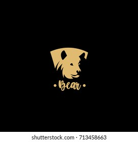 Bear shield icon, wild animal, mammal, polar, fur, grizzly, bulky, strong, vector illustration
