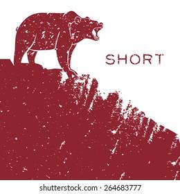 Bear short selling finance concept. Vector illustration