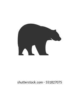 bear sihouette symbol. Solid pictogram. Black bear elements isolated on white background. Good for camping logo. infographics. Vector.