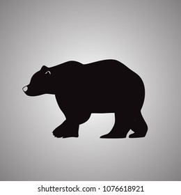 Bear silhouette icon isolated on gray background. Trendy bear silhouette icon in flat style. Template for web site, app, ui and logo. Vector illustration, EPS 10