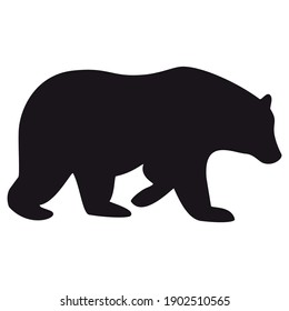 Bear silhouette, icon. Vector illustration on a white background.