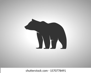 Bear Silhouette on White Background. Isolated Vector Animal