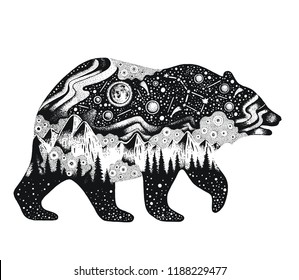 Bear silhouette for t-shirt print or temporary tattoo. Hand drawn surreal design for apparel. Black animal, night forest landscape. Vintage vector illustration, sketch isolated on white background