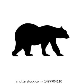 Bear silhouette vector grizzly icon black. Polar grizzly illustration logo bear design.