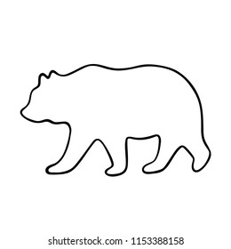 Bear silhouette. Vector illustration isolated on white background for print and poster. Outline design.